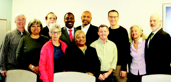 Pictured, left to right: Peter Arndtsen, Columbus/Amsterdam BID; Genora Johnson, Board member and Douglass Houses resident; Sheldon Fine, Board member; Roberta Semer, Chair of Community Board 7; Gregory Floyd, President, Teamsters Local 237; Madelyn Innocent, Chair of Task Force, Board member and resident of Douglass Houses; Kevin Norman, Housing Director; Board members Mel Wymore, Richard Robins, Marilyn Rosenberg and Mark Diller.