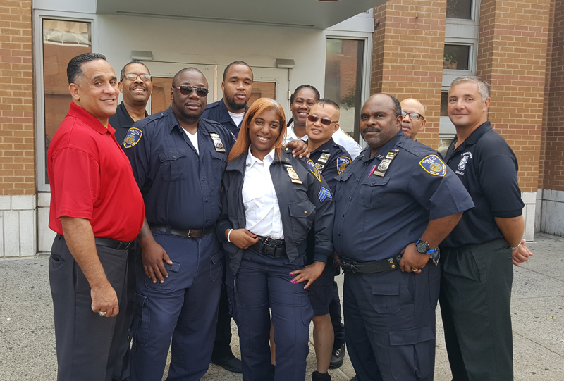 ACS Police Officers at the Horizons Juvenile Facility in the Bronx were visited by Local 237's Charlie Cotto, Law Enforcement Business Agent (left); Derek Jackson, Director of Law Enforcement, (left, back row) and Frank Rella, Law Enforcement Business Agent (right). The Officers are, left to right: PO Rogers; PO Proctor; Sgt. Redwine; Sgt. Spencer; PO Wong; PO Taite and PO Wingo.